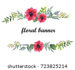 watercolor floral banner | Shutterstock . vector #723825214