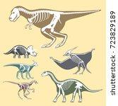 dinosaurs skeletons silhouettes ... | Shutterstock .eps vector #723829189