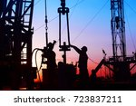 oil field  the oil workers are... | Shutterstock . vector #723837211