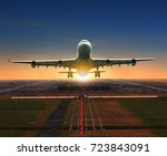 jet plane taking off from... | Shutterstock . vector #723843091