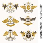 set of luxury heraldic vector... | Shutterstock .eps vector #723843889