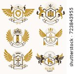 collection of vector heraldic... | Shutterstock .eps vector #723843955