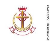 christian cross golden emblem... | Shutterstock .eps vector #723843985