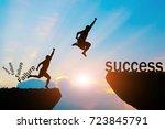 men jump over silhouette... | Shutterstock . vector #723845791