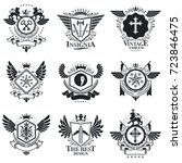 vintage emblems  vector... | Shutterstock .eps vector #723846475