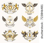 set of vector vintage emblems... | Shutterstock .eps vector #723846481