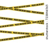 yellow tape with police line do ... | Shutterstock .eps vector #723846565
