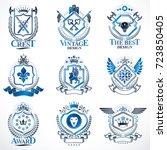 heraldic vector signs decorated ...   Shutterstock .eps vector #723850405