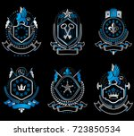 set of luxury heraldic vector... | Shutterstock .eps vector #723850534