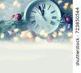 christmas clock and fir...   Shutterstock . vector #723850564