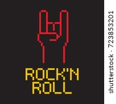 pixel rock and roll background | Shutterstock .eps vector #723853201
