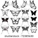 Stock vector set of butterflies silhouettes isolated on white background in vector format very easy to edit 72385630