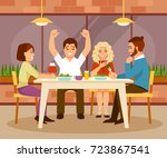 cheerful group of friends... | Shutterstock .eps vector #723867541