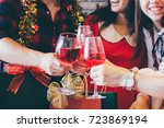 christmas party cheerful young... | Shutterstock . vector #723869194