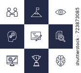 set of 9 strategy outline icons ... | Shutterstock .eps vector #723873085