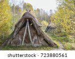 Grass hut in the forest in autumn