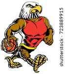 Mascot Eagle holding a basketball wearing a tank top, strutting, proud and tough, which gives tribute to traditional school mascots but with a new look and attitude. Suitable for all sports. - stock vector
