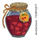 jar of cherry jam cartoon image.... | Shutterstock .eps vector #723891877
