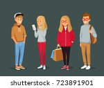 set of young  people.... | Shutterstock .eps vector #723891901