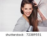 beautiful woman on natural | Shutterstock . vector #72389551