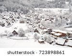 historic villages of shirakawa... | Shutterstock . vector #723898861