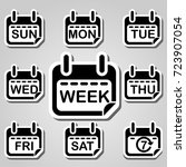 weekly calendar page curl flat... | Shutterstock .eps vector #723907054