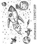 space  rocket  sketch | Shutterstock .eps vector #723907189