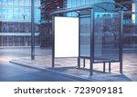 blank white frame on a bus stop ... | Shutterstock . vector #723909181