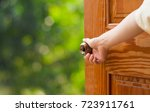 women hand open door knob or... | Shutterstock . vector #723911761
