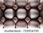 white eggs in carton box .... | Shutterstock . vector #723916735