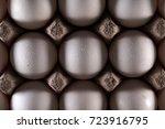 white eggs in carton box .... | Shutterstock . vector #723916795