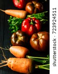 autumn food table. carrots ... | Shutterstock . vector #723924511