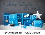 christmas gifts  snow ... | Shutterstock . vector #723925405