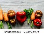 autumn food table. carrots ... | Shutterstock . vector #723925975