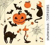 Stock vector halloween cats and pumpkins trick or treat object 723931081
