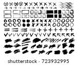 collection of strokes  spots ... | Shutterstock .eps vector #723932995