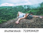 asian women travel relax in the ... | Shutterstock . vector #723934429