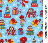 christmas and new year seamless ... | Shutterstock .eps vector #723936124