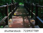 landscape of wood bridge path...   Shutterstock . vector #723937789