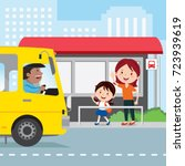 mother and child at the bus... | Shutterstock .eps vector #723939619