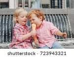 group portrait of two white... | Shutterstock . vector #723943321