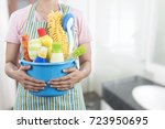 woman with cleaning equipment... | Shutterstock . vector #723950695