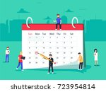 flat business people planning... | Shutterstock .eps vector #723954814
