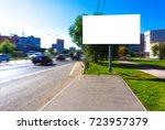 empty blank billboard at busy... | Shutterstock . vector #723957379
