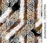 seamless pattern ethnic design. ... | Shutterstock . vector #723957904