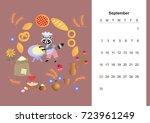 september. colorful monthly... | Shutterstock .eps vector #723961249