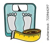 scale weight with tape measure... | Shutterstock .eps vector #723964297