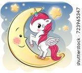 cute cartoon unicorn girl on... | Shutterstock .eps vector #723965347