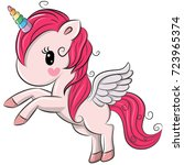 cute cartoon unicorn isolated... | Shutterstock .eps vector #723965374