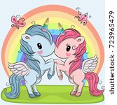 two cute unicorns on a rainbow... | Shutterstock .eps vector #723965479